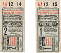Baseball Collectibles:Tickets, 1931 World Series Games One & Two Ticket Stubs....