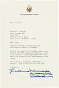 Autographs:Others, 2011 President Bill Clinton Signed Letter to Stan Musial....