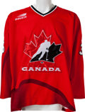 Hockey Collectibles:Uniforms, 1998 Felix Potvin Game Worn, Signed Team Canada Jersey....