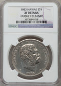 Coins of Hawaii, 1883 $1 Hawaii Dollar -- Harshly Cleaned -- NGC Details. XF. NGCCensus: (57/272). PCGS Population (149/429). Mintage: 500,...