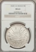 Mexico, Mexico: Republic 8 Reales 1860 C-CE MS63 NGC,...