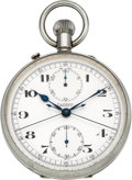 Timepieces:Pocket (post 1900), F.L. Löbner, Berlin, Large Split Second Chronograph With Register,circa 1940's. ...