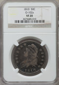 Bust Half Dollars, 1810 50C VF20 NGC. O-102a. NGC Census: (10/528). PCGS Population(32/688). Mintage: 1,276,276. Numismedia Wsl. Price for pr...