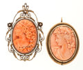 Estate Jewelry:Brooches - Pins, Antique Coral Cameo, Gold, Yellow Metal Brooches. ... (Total: 2 Items)