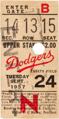 Baseball Collectibles:Tickets, 1957 Brooklyn Dodgers Final Game at Ebbets Field Ticket Stub. ...