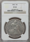 Seated Dollars: , 1842 $1 VF25 NGC. NGC Census: (10/501). PCGS Population (15/603).Mintage: 184,618. Numismedia Wsl. Price for problem free ...