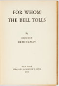 Books:Literature 1900-up, Ernest Hemingway. For Whom the Bell Tolls. New York:Scribner's, 1940. First edition, first printing. Publisher's ta...