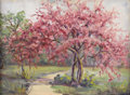Texas:Early Texas Art - Impressionists, EMMA DILLARD (1879-1968). Untitled Redbud in Bloom. Oil on canvas.12in. x 16in. Signed lower right. ...