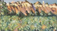 MARJORIE JOHNSON LEE (1911-1997) Ghost Figures at Ghost Ranch Oil on canvasboard 8.25in. x 15in. Signed and titled v