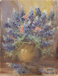 Texas:Early Texas Art - Impressionists, EMMA DILLARD (1879-1968). Untitled Bluebonnet Still Life. Oil oncanvasboard. 14in. x 10.5in.. Signed lower right. A nice ...
