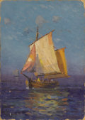 Texas:Early Texas Art - Impressionists, ANGEL ESPOY (1879-1963). Normandie Fishing Boat. Oil onartistboard. 14in. x 10in.. Signed lower left. Titled verso. A...