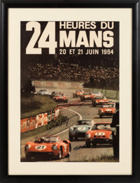 Original 1964 Le Mans Poster Autographed By Carroll Shelby, Dan Gurney, And Bob Bondurant