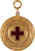Golf Collectibles:Miscellaneous, 1918 Walter Hagen Gold Medal From Red Cross Exhibition....