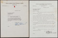 Baseball Collectibles:Others, 1934 and 1941 Eddie Collins and Ed Barrow Signed Letters Lot of2....
