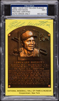 Baseball Collectibles:Others, Eddie Mathews Signed HOF Plaque Postcard, PSA NM 7....