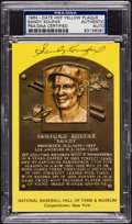 Baseball Collectibles:Others, Sandy Koufax Signed HOF Plaque Postcard....
