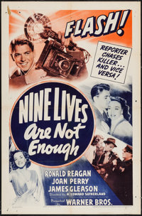 """Nine Lives Are Not Enough (Warner Brothers, 1941). One Sheet (27"""" X 41""""). Mystery"""
