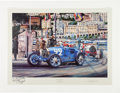 Transportation:Automobilia, Nicholas Watts Lithograph Monaco Grand Prix 1930 - Signed By ArtistWith Personal Inscription By René Dreyfus...