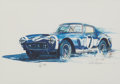 Transportation:Automobilia, Lithograph Of Famed 1960 Ferrari 250 GT SWB Chassis No. 2735 SignedBy Stirling Moss...