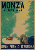 Transportation:Automobilia, Original Poster From 1949 Italian Grand Prix In Monza ...