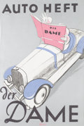Transportation:Automobilia, Vintage Original Auto Heft Der Dame Advertising Poster, AfterClomk, Circa 1930 ...