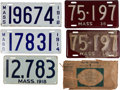 Transportation:Automobilia, Five Massachusetts Plates In Excellent Condition Including ThreeEarly Porcelain And An Un-Issued Set Of 1938 Plates With Orig...(Total: 5 Items)