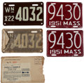 Transportation:Automobilia, Two Sets Of Early Motorcycle Plates: Pair Of 1951 Massachusetts& Pair Of Un-Issued 1922 Washington Motorcycle Plates WithMai... (Total: 5 Items)