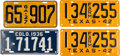Transportation:Automobilia, Lot Of Four License Plates Including Early Georgia Plate And PairOf 1942 Texas Farm Plates ... (Total: 4 Items)