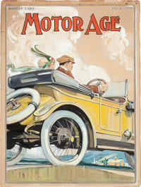 Original 1913 Motor Age Magazine Cover Art Illustration Painting By Tarzan Artist Clinton Pettee