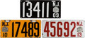 Transportation:Automobilia, Three New Jersey Porcelain License Plates In VG Condition: 1909,1910 and 1913 ... (Total: 3 Items)