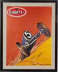 Transportation:Automobilia, Reproduction Of Roger Soubie 1924 Bugatti Type 35 PosterAutographed By René Dreyfus And Maurice Trintignant...
