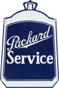 Transportation:Automobilia, Vintage Packard Double Sided Die Cut Enamel Service Sign InRadiator Shape...