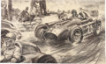 Transportation, Carlo Demand Original Charcoal Drawing Of Alberto Ascari In LanciaD50 At 1955 Monaco Grand Prix...