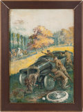 "Transportation:Automobilia, Dramatic Action Painting Advertisement Titled ""Quick Change"" SignedSimmons..."