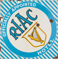 Transportation:Automobilia, Vintage Enamel Royal Irish Automobile Club (RIAC) Hotel Sign ...