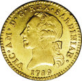 Italy:Sardinia, Italy: Sardinia. Victorio Amedeo III gold Doppia 1789, KM-C67,choice lustrous AU, very bold details and a problem-freeexample....