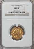 Indian Half Eagles, 1908 $5 MS63 NGC....