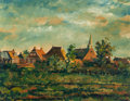 Paintings, HENK HELMANTEL (Dutch, b. 1945). Late Afternoon, Westeremden, Holland, 1962. Oil on masonite. 23-5/8 x 30-1/8 inches (60...