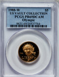 Modern Issues: , 1988-W G$5 Olympic Gold Five Dollar PR69 Deep Cameo PCGS. Ex: US Vault Collection. PCGS Population (8566/437). NGC Census: ...