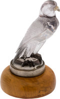 Transportation:Automobilia, R. Lalique Falcon Glass Hood Ornament Mascot - PartiallyRestored...