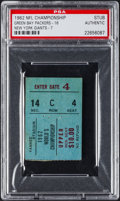 Football Collectibles:Tickets, 1962 NFL Championship Game Packers vs. Giants Ticket Stub, PSA Authentic. ...