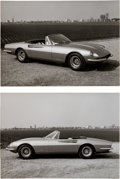 Transportation:Automobilia, 2 Original B&W Photos Of 1966 Ferrari 365 California WithPininfarina Studio Stamp ... (Total: 2 Items)