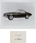 Transportation:Automobilia, Ferrari Factory B&W Photo Of 1962 Bertone Ferrari 250GT SWBRendering With Provenance Card ... (Total: 2 Items)