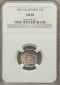 Seated Dimes: , 1840 10C No Drapery AU58 NGC. NGC Census: (14/76). PCGS Population(14/57). Mintage: 981,500. Numismedia Wsl. Price for pro...