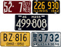 Transportation:Automobilia, Lot of Five Early Steel License Plates... (Total: 5 Items)