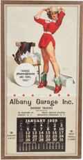 Transportation:Automobilia, Vintage 1959 Pin Up Calendar Featuring Image Of Gil ElvgrenPainting 'Something New' ...