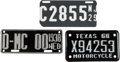 Transportation:Automobilia, Lot Of Three Motorcycle License Plates... (Total: 3 Items)