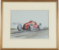 Transportation, Frank Munger Signed Race Car Painting--Gouache on Board. ...