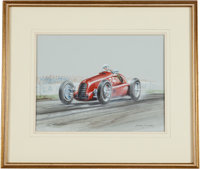 Frank Munger Signed Race Car Painting--Gouache on Board