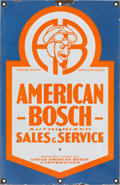 Advertising:Gas & Oil, Rare Vintage Double Sided American Bosch Porcelain Sign withCamille Jenatzy Logo...